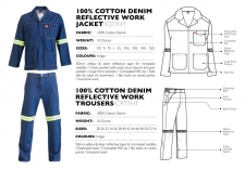 100-cotton-denim-reflective-work-jacket-trousers CJ77HT & CP77HT