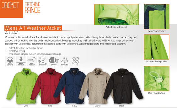Barron Outdoor ALL-JAC Mens All Weather Jacket